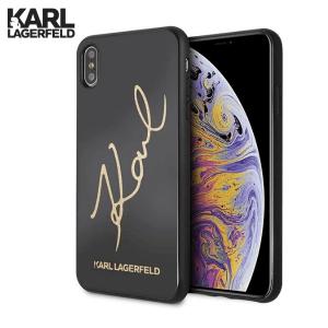 Karl Lagerfeld Signature Glitter za iPhone XS Max – Crna