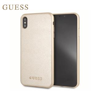 Kožna GUESS Iridescent maskica za iPhone XS Max – Zlatna