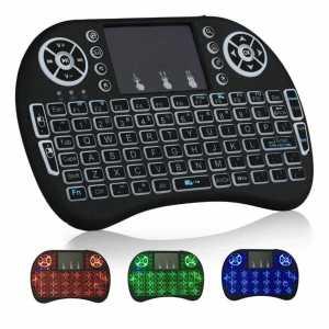 Mini bežična Tipkovnica s Touchpad-om i osvjetljenjem za TV - Crna