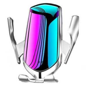 Držač mobitela s bežičnim punjenjem za auto na ventilacijsku rešetku - srebrni