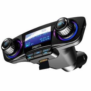 FM odašiljač (Bluetooth + USB + AUX + SD card) s ekranom - crni
