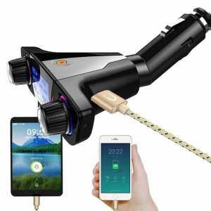 FM odašiljač (Bluetooth + USB +AUX + SD card) s ekranom - crni