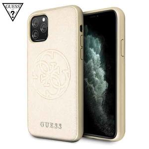GUESS Saffiano Circle maskica za iPhone 11 Pro – Zlatna