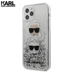 Karl Lagerfeld Glitter Karl&Choupette maskica za iPhone 12 – Srebrna
