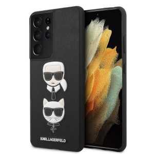 Karl Lagerfeld Hard Karl & Choupette maskica za Galaxy S21 Ultra – Crna