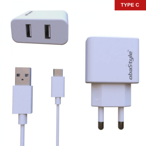 Dual Usb Adapter & Type C Kabel – Zidni punjač