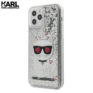 Karl Lagerfeld Glitter Choupette maskica za iPhone 12 – Srebrna