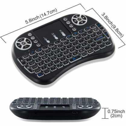 Mini bežična Tipkovnica s Touchpad-om i osvjetljenjem za TV - Crna 129850