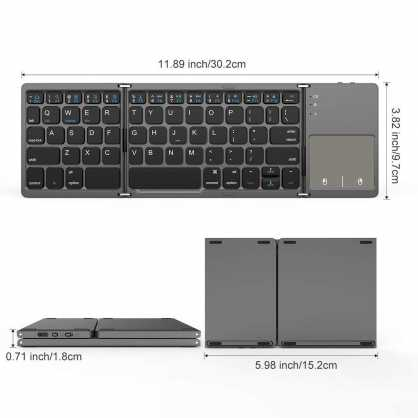 2u1 Bluetooth preklopna Tipkovnica s Touchpad-om - Crna 129820