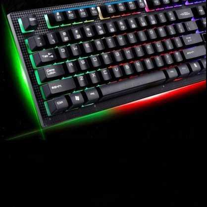 USB gaming tipkovnica RGB LED pozadinsko osvjetljenje Žična - Crna 131237